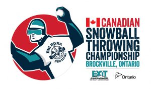 Brockville SNOylmpiad snowball throwing championship logo with support from EXIT Realty and Province of Ontario